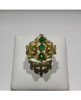 LSAU004-AU - Anello in Oro 750/°°° con Smeraldi naturali