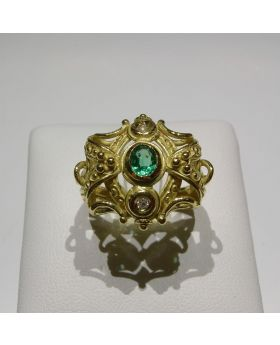 LSAU012-AU - Anello in oro 750/°°° con Smeraldi naturali e Diamanti naturali.