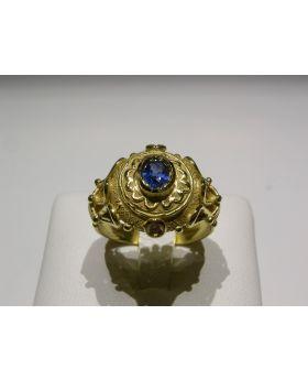 LSAU002 - Anello in Oro750/°°°con Zaffiro e Diamanti naturali