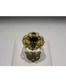 LSAU006 - Anello in Oro 750/°°° con Zaffiri naturali