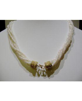 LSAU015 Collana di Perle di fiume con chiusura in Oro 750/°°°