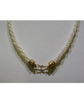 LSAU016 collana di Perle di fiume con chiusura in Oro 750/°°°