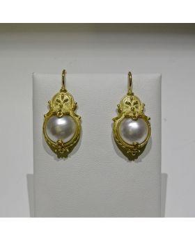 LSAU035-AU - Orecchini in oro 750/°°° con Perle naturali
